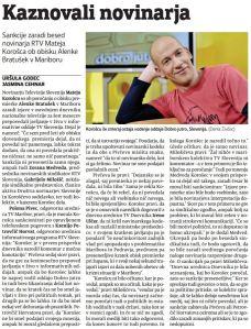 Novinar Korošec kaznovan