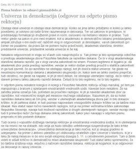 rektor dekan pismo Delo