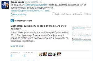 Janša tviter moj blog opankarski