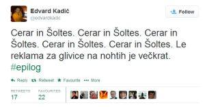 Kadič tvit Šoltes Cerar
