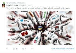 Janša tvit medijske hijene