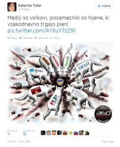 tvit mediji hijene Janša