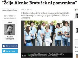Želja Alenke Bratušek Večer