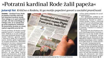 Kardinal Rode papež kritika Jutarnji Delo
