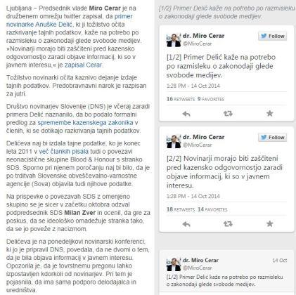 Cerar Delić tvit