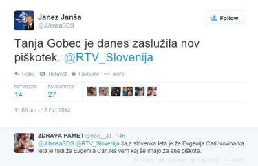 Tanja Gobec piškot Janša tvit