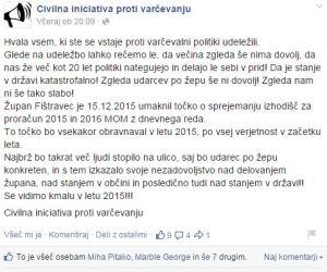 Civilna iniciativa proti varčevanju zahvala po protestu FB