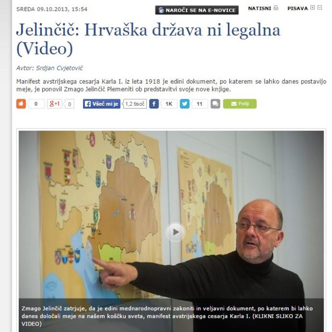 Jelinčič Hrvaška ni legalna SIOL