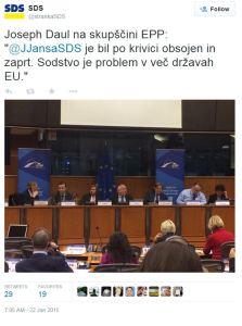 Janša tvit EPP Daul
