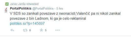 Janša tvit zanikanje Valenčič