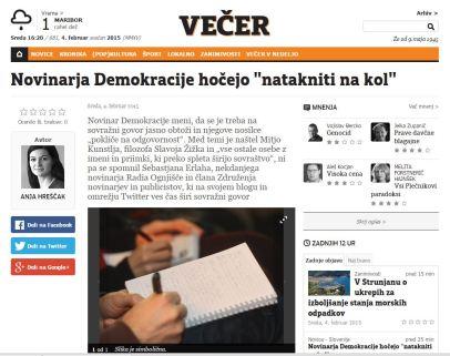 Večer Demokracija novinar ZNP natikanje na kol