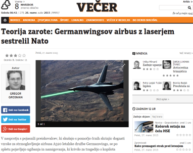 Germanwings teorija zarote Večer
