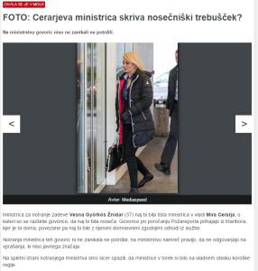 Slovenske novice noseča ministrica