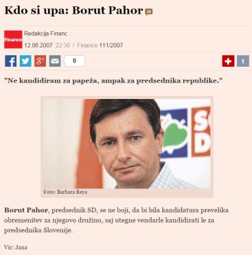 Pahor papež Finance