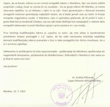 Fištravec pismo RTV NK Maribor