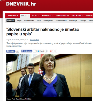Pusić Dnevnik dokumenti arbitraža