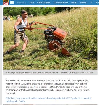 Svet24 kritika Pahorja Kariž košnja trave