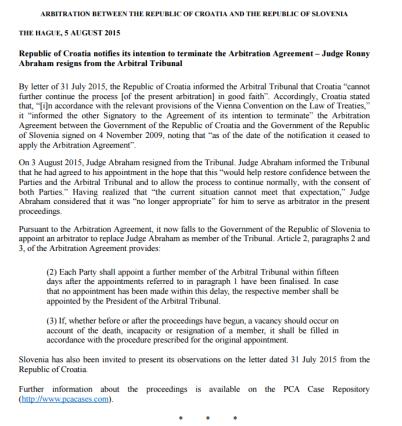 abraham arbitraržno sodišče izjava