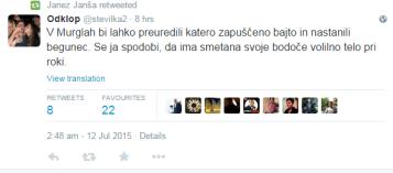 Janša begunci tvit