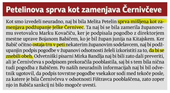 Petelin Černivec podžupani Babič Večer