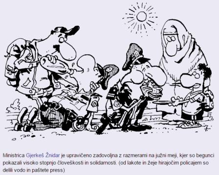 Lavrič karikatura begunci policisti