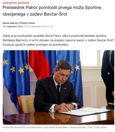 Pomilostitev Pahor Bajrović Dnevnik