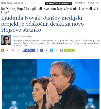 Hojs Ljudmila Novak nova stranka nov medij
