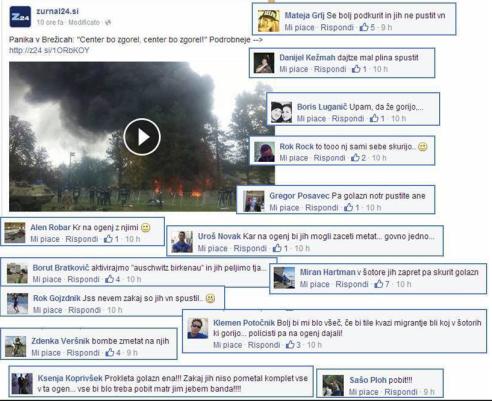 Sovraštvo FB begunci ogenj Žurnal