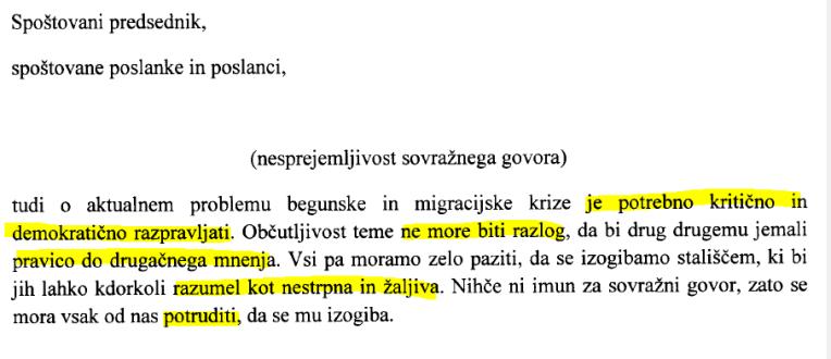 Pahor sovražni govor parlament