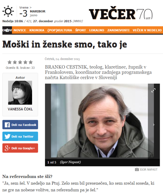 Cestnik Čokl intervju Večer naslovna