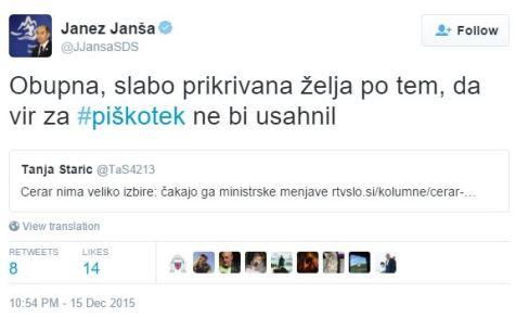 Janša Starič piškotki tvit