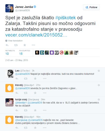 Janša Čokl Zalar piškotek