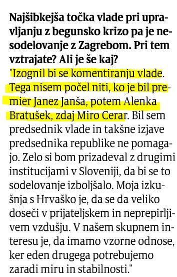 Pahor komentiranje vlade Večer