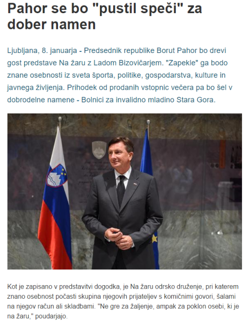 Pahor dobrodelnost na žaru STA
