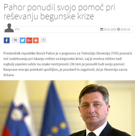 Pahor pomoč begunci STA