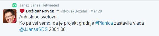 Božidar Novak Janša Planica tvit
