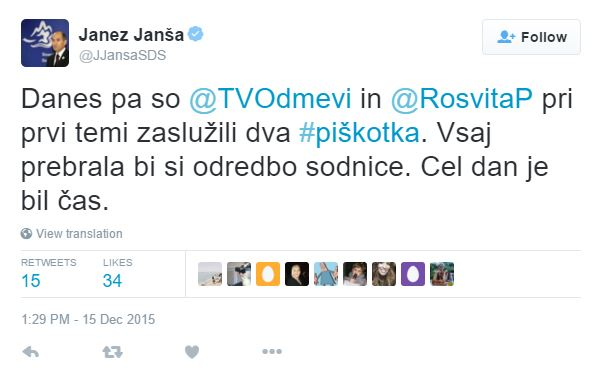 Janša piškotki Pesek tvit