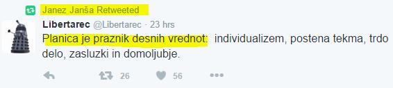 Janša Planica desne vrednote tvit
