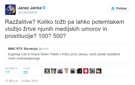 Janša tvit prostitucija razžalitve