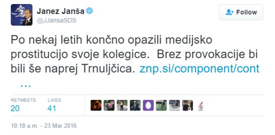 Janša tvit prostitucija ZNP