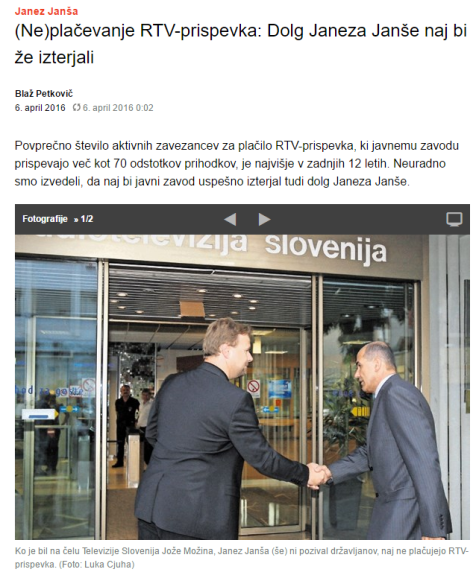 Janša dolg rtv izterjali Dnevnik