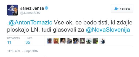 Janša o Novak tvit po shodu Zbora za republiko