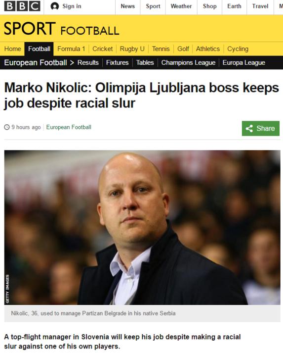Marko Nikolic BBC rasizem