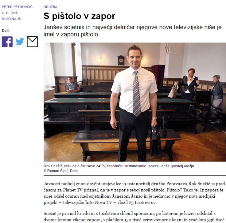 Snežič zapor Janša Mladina pištola