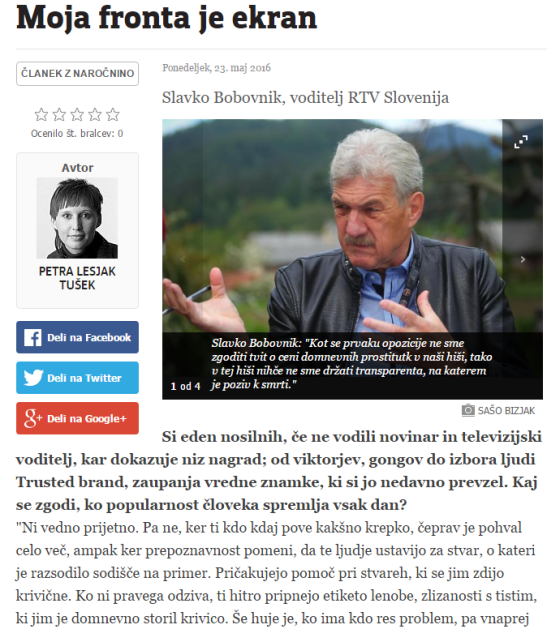 Bobovnik intervju Večer naslovna