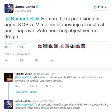 Janša Leljak tvit konflikt