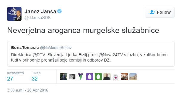 Janša Ljerka Bizilj Murgle tvit