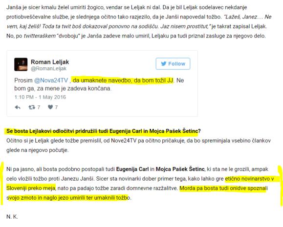 Janša Nova24tv umik zapisa tožba Pašek Carl
