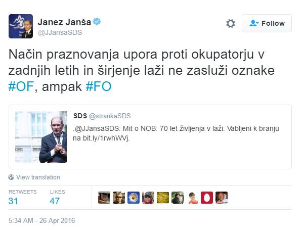 Janša OF tvit FO