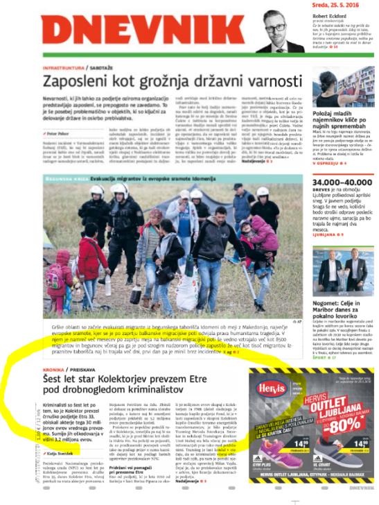 Kolektor Dnevnik naslovnica Petrič